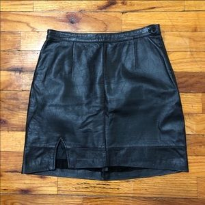 Reformation Leather Mini Skirt with Slit